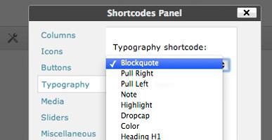 WordPress Themes Shortcodes